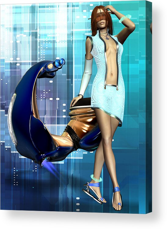 Babe Acrylic Print featuring the digital art Sexy Scooter by Frederico Borges