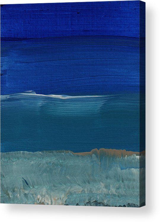 Abstract Art Acrylic Print featuring the painting Soft Crashing Waves- Abstract Landscape by Linda Woods