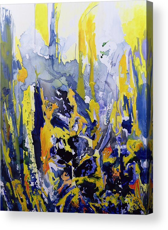Abstract; Blue; Yellow Acrylic Print featuring the painting Sounds So Soothing by Thomas Hampton