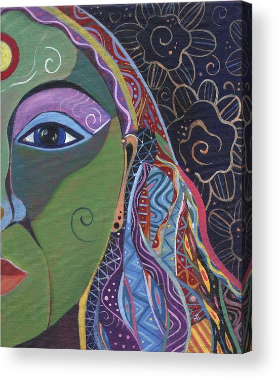 Woman Acrylic Print featuring the painting Still A Mystery 5 by Helena Tiainen