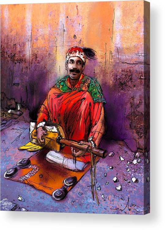 Travel Acrylic Print featuring the painting Street Musician In Marrakesh 01 by Miki De Goodaboom