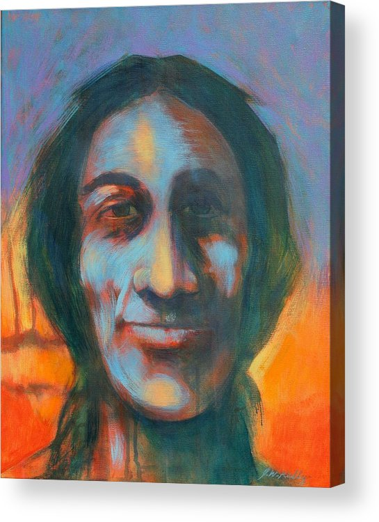 Smiling Native American Acrylic Print featuring the painting Sundog by J W Kelly