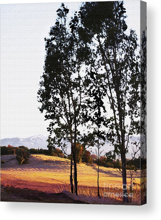 Wine Country Acrylic Print featuring the painting Sunrise Over Northern California Hills by Artist and Photographer Laura Wrede