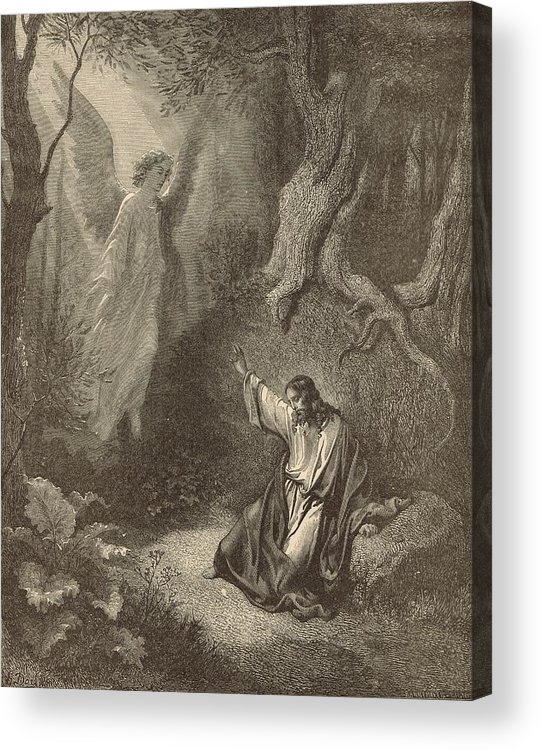 Biblical Acrylic Print featuring the drawing The Agony In The Garden by Antique Engravings