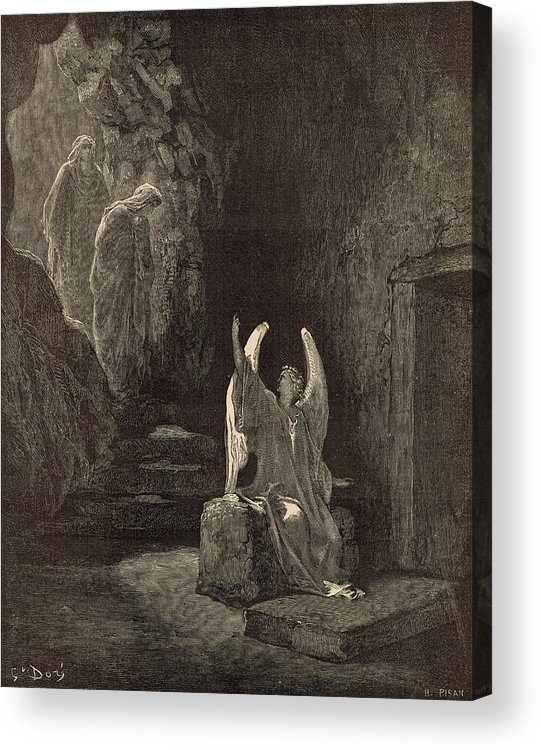 Biblical Acrylic Print featuring the drawing The Angel At The Sepulchre by Antique Engravings