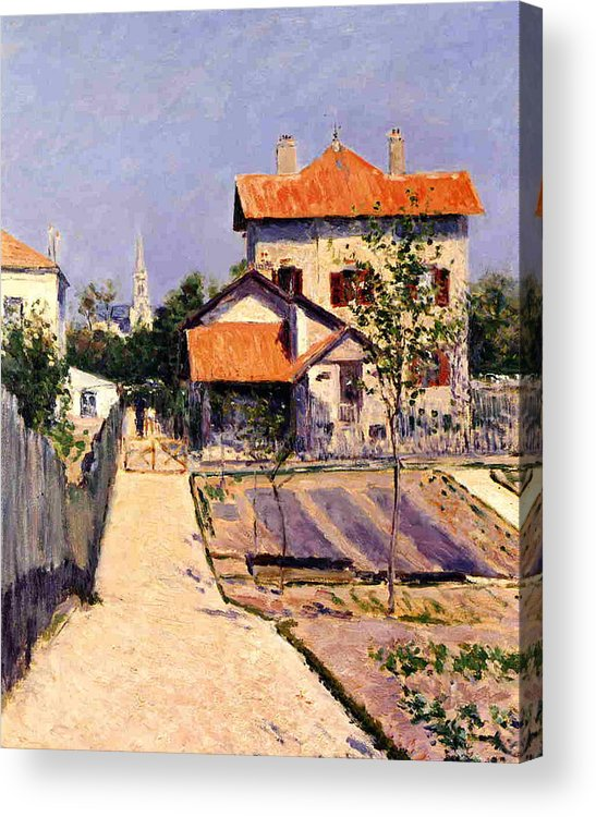 Home Acrylic Print featuring the painting The Artists House At Yerres by Gustave Caillebotte