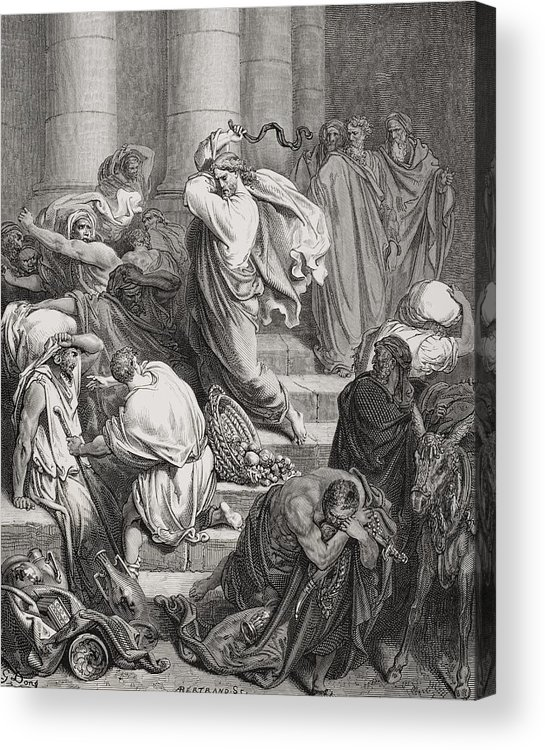 Jesus Acrylic Print featuring the painting The Buyers And Sellers Driven Out Of The Temple by Gustave Dore