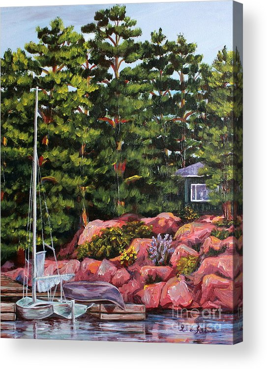 Landscape Acrylic Print featuring the painting The Cabin by Linda Steine