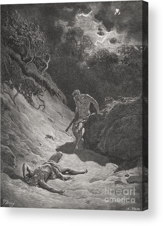 Cain Acrylic Print featuring the painting The Death Of Abel by Gustave Dore