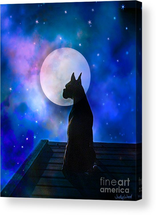 Dog Acrylic Print featuring the digital art The Dock At The Edge Of The Universe by Judy Wood