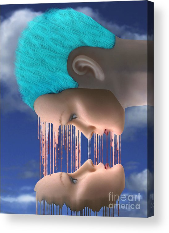 Surreal Digital Image Acrylic Print featuring the digital art The Melding by Keith Dillon
