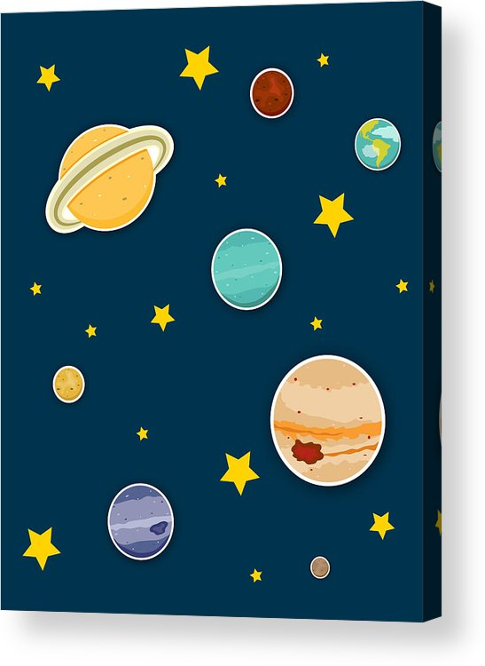 Planets Acrylic Print featuring the digital art The Planets by Christy Beckwith
