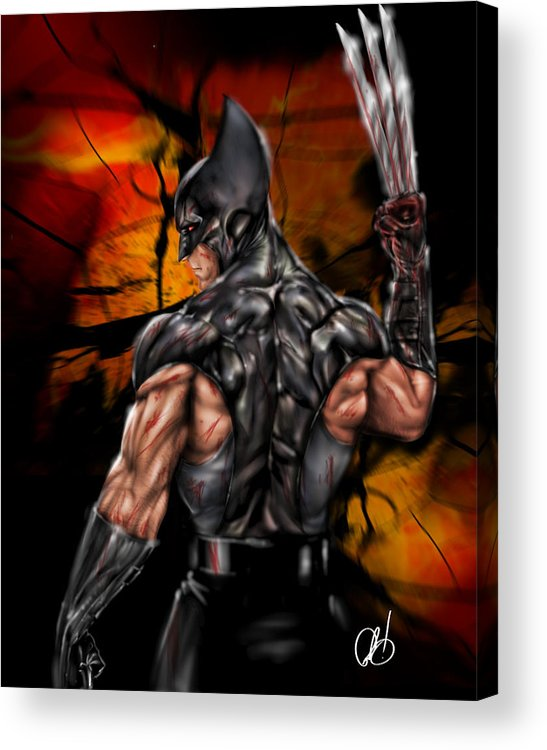Marvel Acrylic Print featuring the painting The Wolverine by Pete Tapang