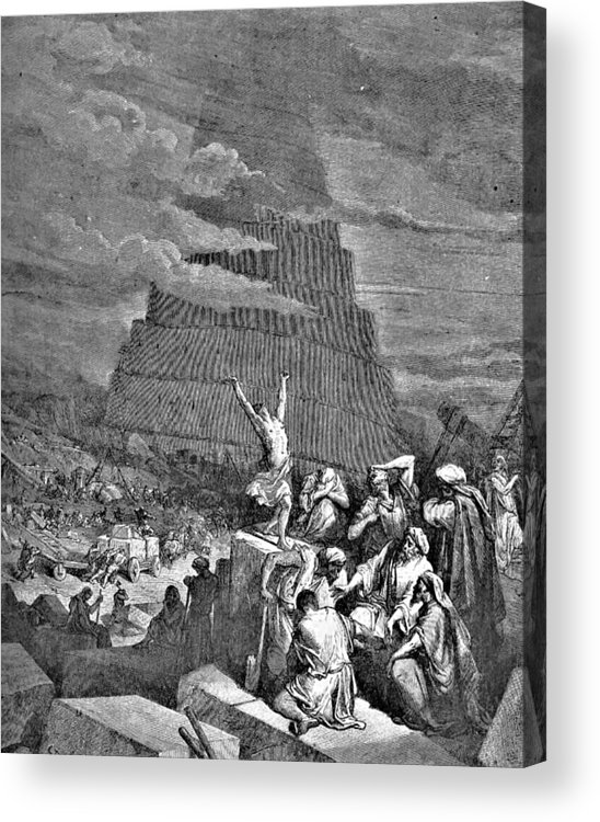 Tower Of Babel Acrylic Print featuring the drawing Tower Of Babel Bible Illustration by