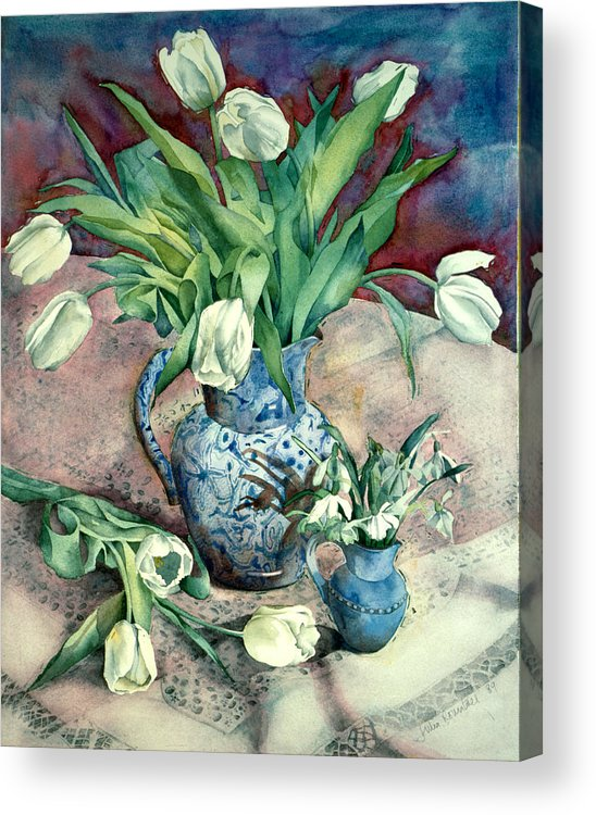Julia Rowntree Acrylic Print featuring the photograph Tulips And Snowdrops by Julia Rowntree