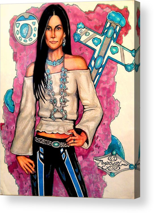 Native American Acrylic Print featuring the drawing Turquesa by Kit Magistratti
