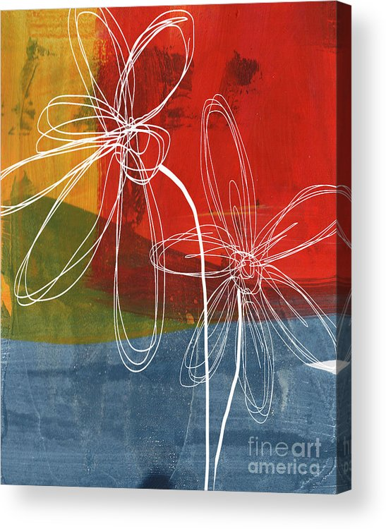 Abstract Acrylic Print featuring the painting Two Flowers by Linda Woods