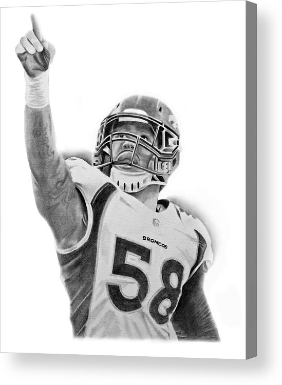 Nfl Acrylic Print featuring the drawing Von Miller by Don Medina