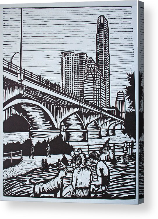Austin. Bats Acrylic Print featuring the drawing Waiting For The Bats by William Cauthern