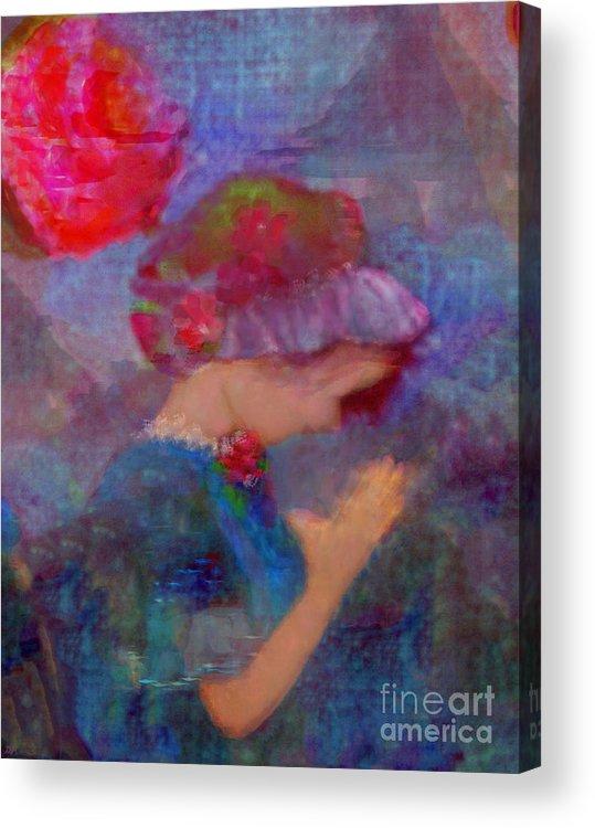 Jesus Christ Acrylic Print featuring the painting When Emmy Prays by Deborah Montana