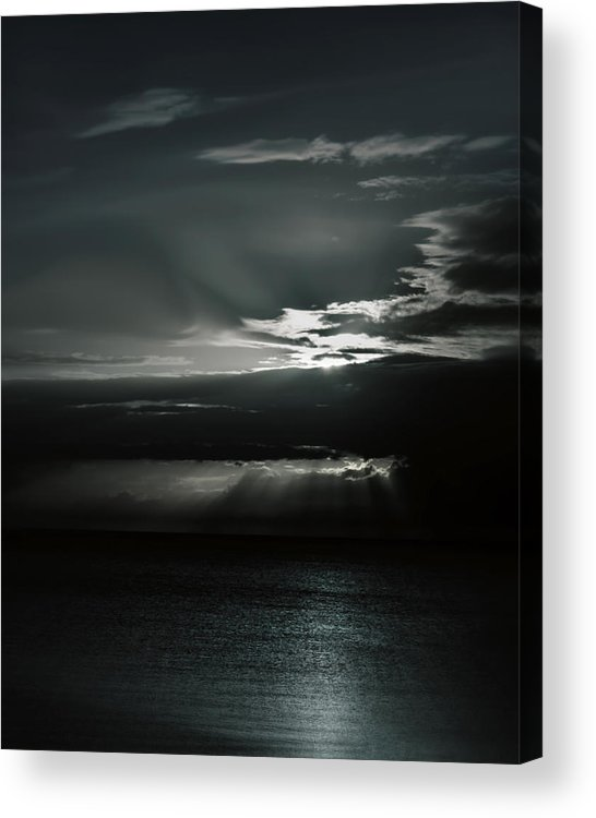 Ocean Acrylic Print featuring the photograph When The Sun Goes Down... by Mario Celzner