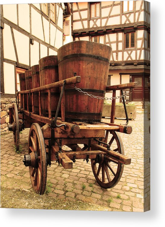 Wine Cart Acrylic Print featuring the photograph Wine Cart In Alsace France by Greg Matchick