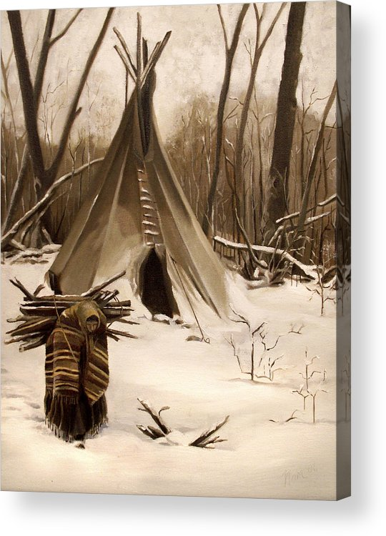 Native American Acrylic Print featuring the painting Wood Gatherer by Nancy Griswold
