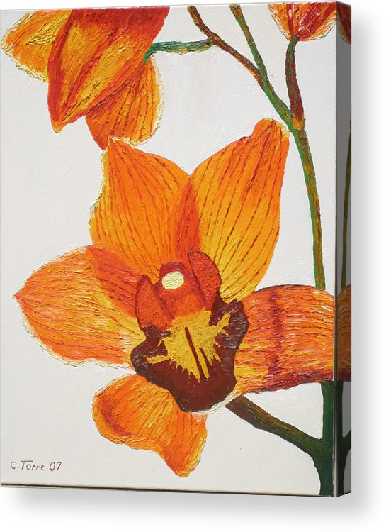 Cymbidiums Acrylic Print featuring the painting Yellow-orange Cymbidiums by Chris Torre