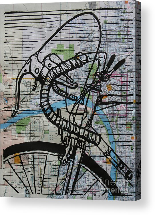 Print Acrylic Print featuring the drawing Bike 2 On Map by William Cauthern