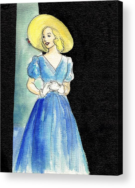 Nostalgia Acrylic Print featuring the drawing Blue Gown by Mel Thompson