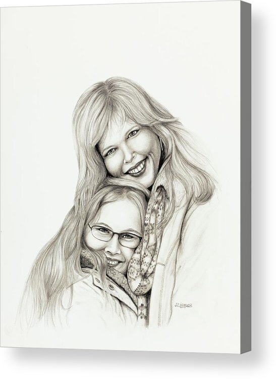 Portrait Acrylic Print featuring the painting A Mothers Love by Jim Ziemer