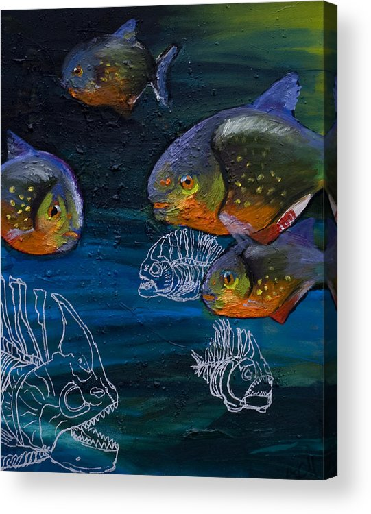 Fish Acrylic Print featuring the painting Ambiguity by Anthony Cavins