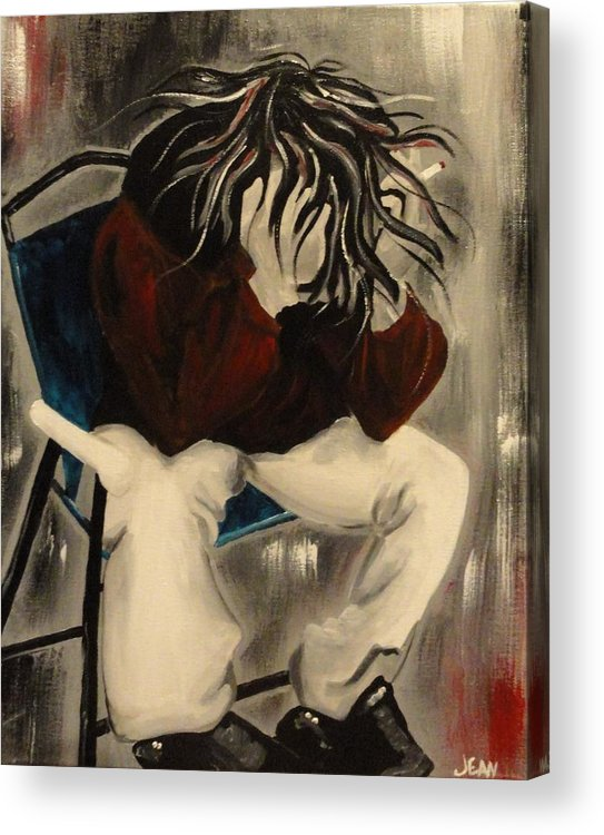 Cigarette Acrylic Print featuring the painting Angst With A Cigarette by Jean Kieffer