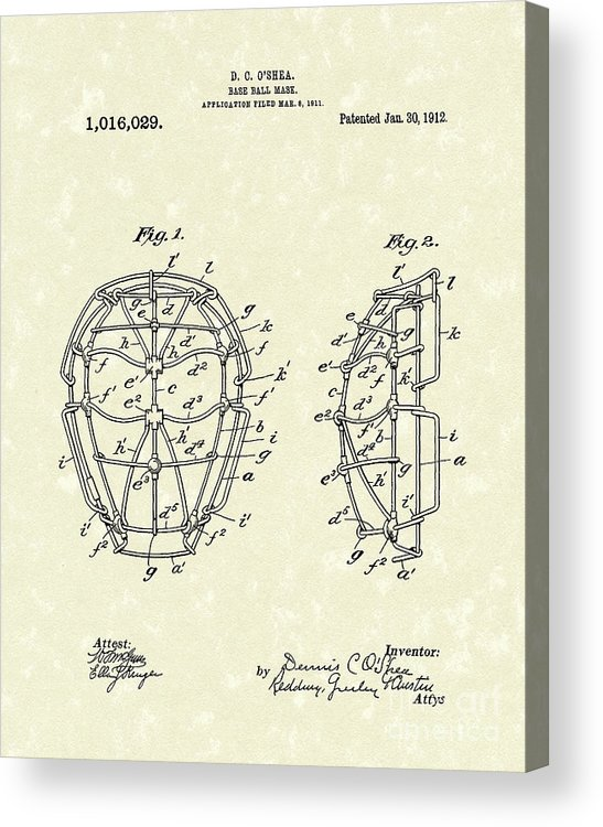 Baseball Acrylic Print featuring the drawing Baseball Mask 1912 Patent Art by Prior Art Design