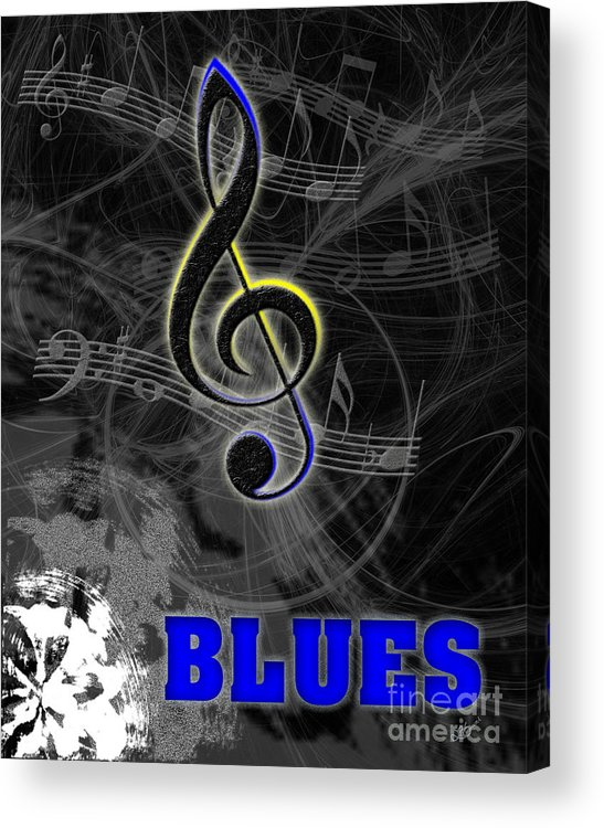 Instruments Acrylic Print featuring the digital art Blues Music Poster by Linda Seacord