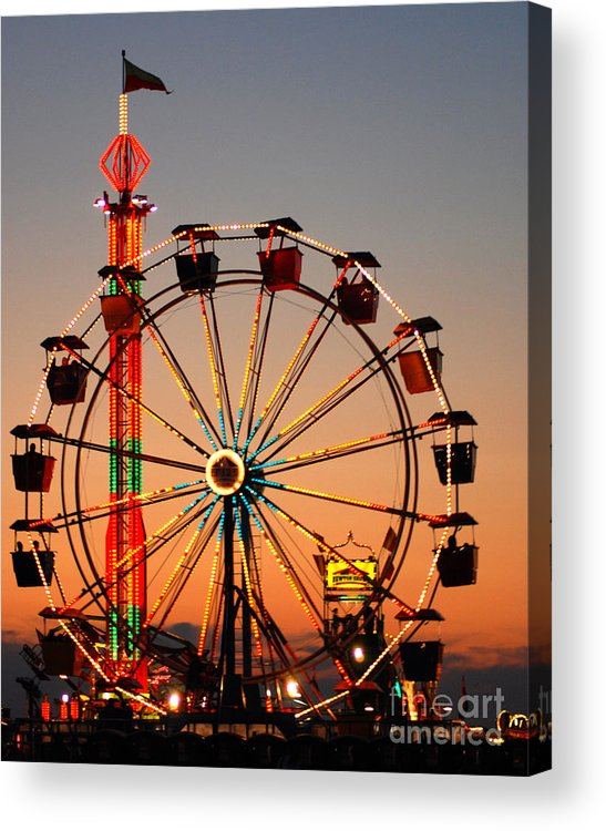 Carousel Acrylic Print featuring the photograph Carousel At Night by Anne Ferguson