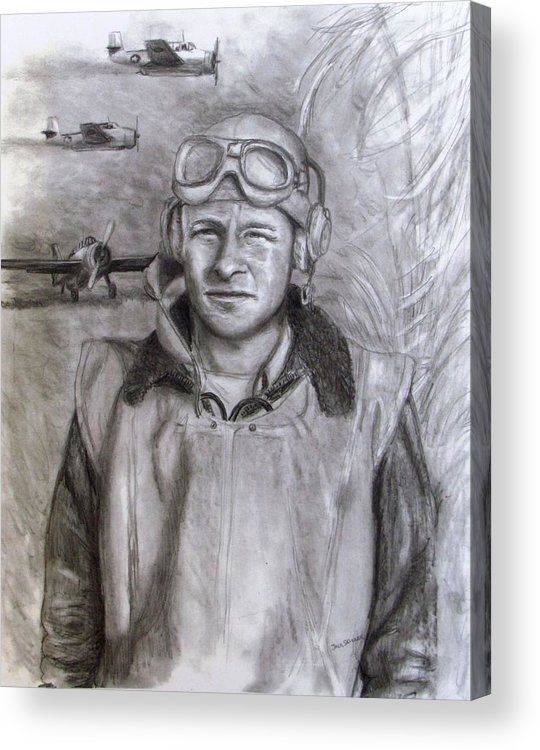 Us Navy Acrylic Print featuring the drawing Dad Ww2 by Jack Skinner