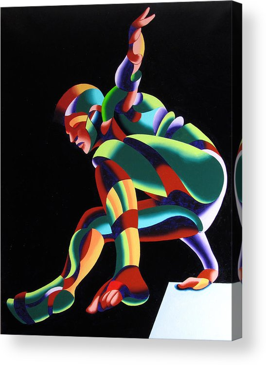 Abstract Acrylic Print featuring the painting Dave 25-03 - Abstract Geometric Figurative Oil Painting by Mark Webster