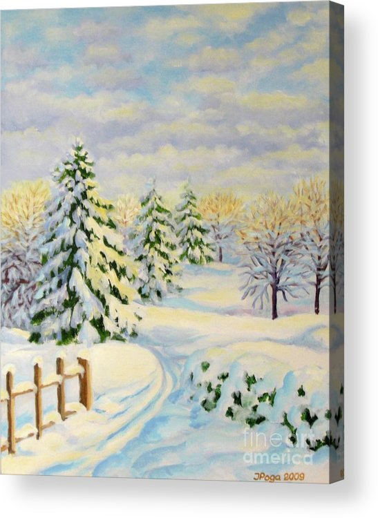 Winter Painting Acrylic Print featuring the painting December Morning by Inese Poga