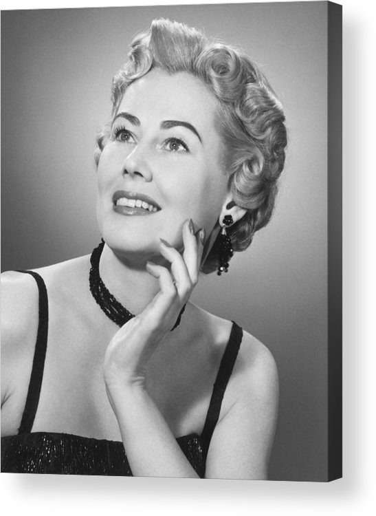 25-29 Years Acrylic Print featuring the photograph Elegant Woman Posing In Studio, (b&w), Portrait by George Marks