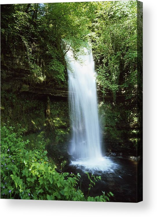 Blurred Motion Acrylic Print featuring the photograph Glencar Waterfall, Yeats Country, Co by The Irish Image Collection