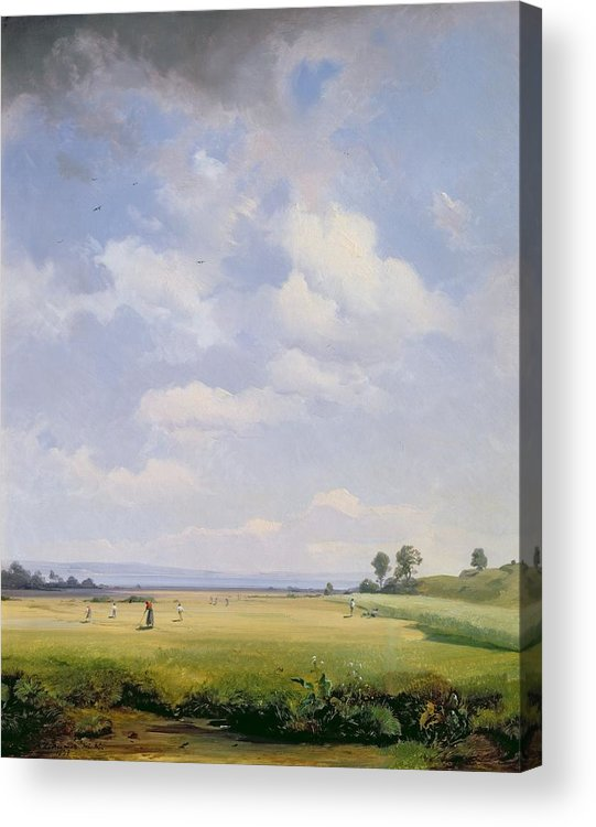 Hay; Farming; Agriculture; Peaceful; Serene; Serenity; Rural; Country Life; Clouds Acrylic Print featuring the painting Haymaking by August Albert Zimmermann