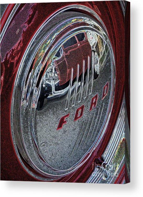 Ford Acrylic Print featuring the digital art Hub Cap Reflections - Pencil by Jim Buda