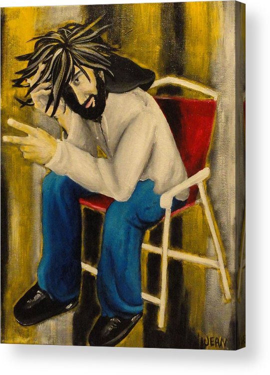 Joy Acrylic Print featuring the painting Joy With A Cigarette by Jean Kieffer