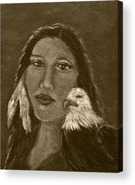 Native American Acrylic Print featuring the painting Onawa Native American Woman Of Wisdom With Eagle In Sepia by The Art With A Heart By Charlotte Phillips