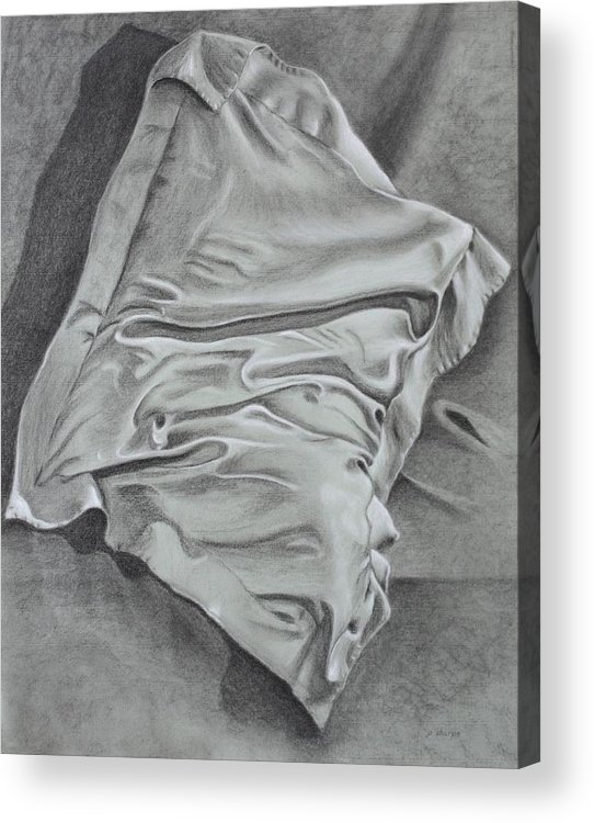 Pillow Still Life In Human Pose Acrylic Print featuring the drawing Pillow Talk by Patsy Sharpe
