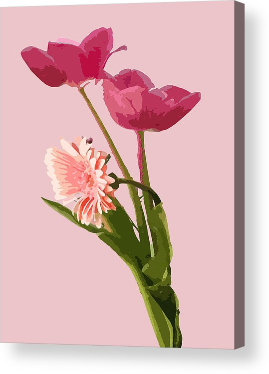 Flower Acrylic Print featuring the digital art Pink Tulips by Karen Nicholson