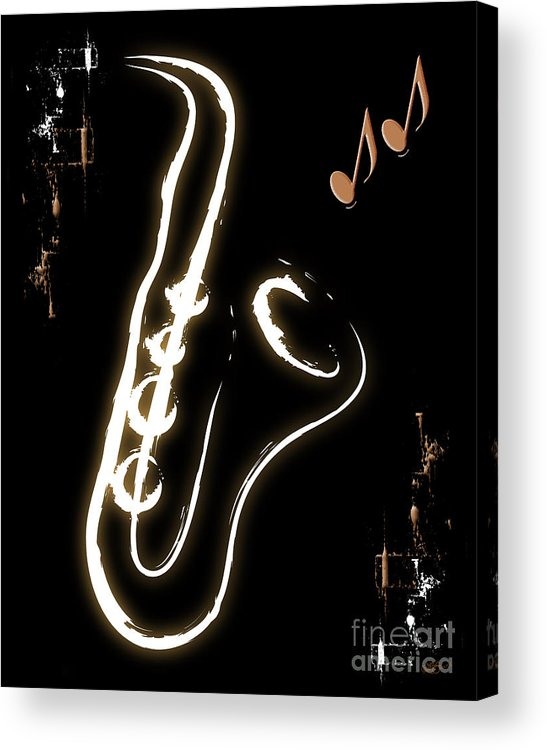 Instruments Acrylic Print featuring the digital art Sax Music Poster by Linda Seacord