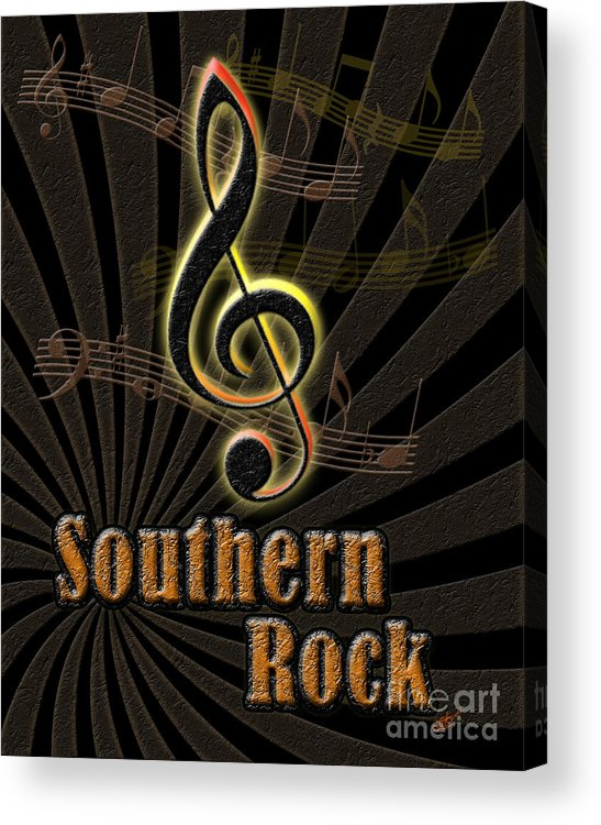 Instruments Acrylic Print featuring the digital art Southern Rock Music Poster by Linda Seacord