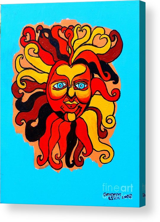 Sun Acrylic Print featuring the painting Sun God II by Genevieve Esson